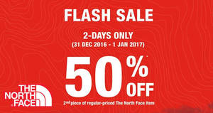 Featured image for The North Face FLASH sale – 50% off the 2nd item at 4 outlets from 31 Dec 2016 – 1 Jan 2017