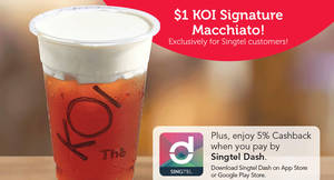 Featured image for KOI Thé offers $1 Signature Macchiato for Singtel customers from 9 – 22 Feb 2017