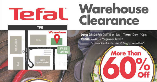 Featured image for Tefal's warehouse clearance offers over 60% savings at Courts Megastore from 25 - 26 Feb 2017