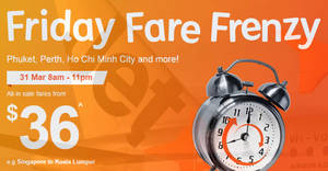 Featured image for Jetstar's latest Friday Frenzy sale offers fares fr $36 all-in to 19 destinations for travel up to Dec '17. Book by 11pm, 31 Mar 2017