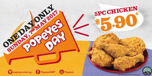 Featured image for Popeyes 5pcs chicken for $5.90 one-day deal returns on Sunday, 7 May 2017