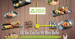 Featured image for Back by popular demand! Sakae Sushi eat-all-you-can 90-mins weekday buffet from 14 Mar 2017