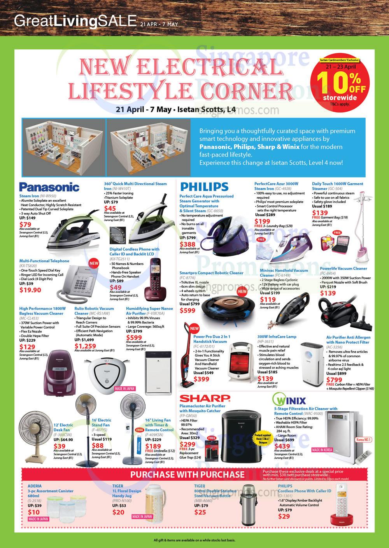 Panasonic, Philips, Iron, Vacuum Cleaner, Telephone, Fan