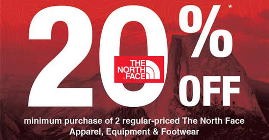 Featured image for The North Face: 20% off with min purchase of two reg-priced items at 6 outlets from 28 Apr - 1 May 2017