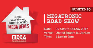Featured image for Mega Discount Store Megatronic roadshow sale at United Square Atrium from 13 – 15 May 2017