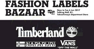 Featured image for Takashimaya: Up to 70% off Timberland, Vans off the wall & more! From 25 May – 6 Jun 2017