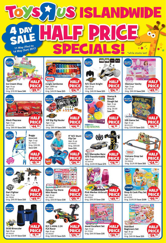 """Toys """"R"""" Us Half-Priced specials at ALL stores from 11 – 14 May 2017Great Online Deals"""