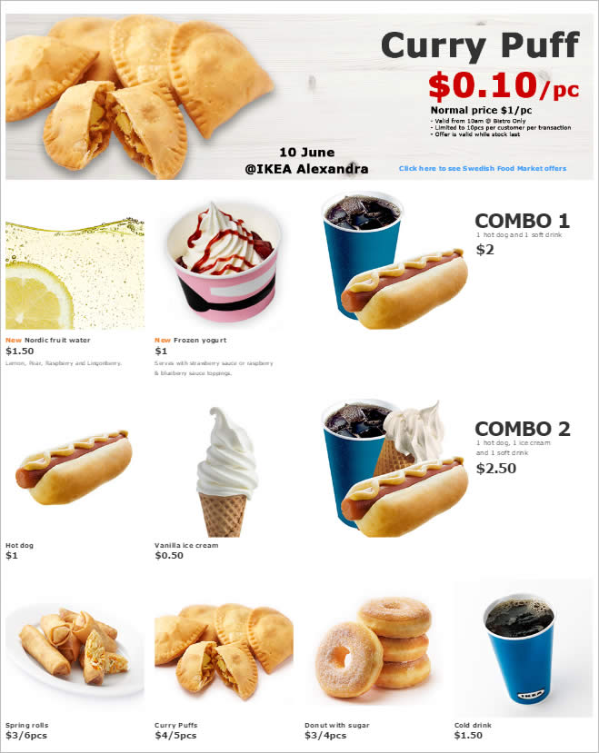 IKEA: 10¢ Curry Puffs, $1 Froyo, $1 Hot Dogs & many more at