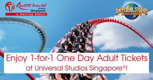 Universal Studios & Adventure Cove Waterpark: 1-for-1 One Day Adult Tickets with Maybank cards! Valid from 23 – 27 Feb 2018