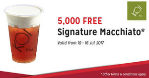 Featured image for (Fully Redeemed!) KOI Thé is giving out 5,000 free cups of Signature Macchiato for SAFRA members! From 10 – 16 Jul 2017