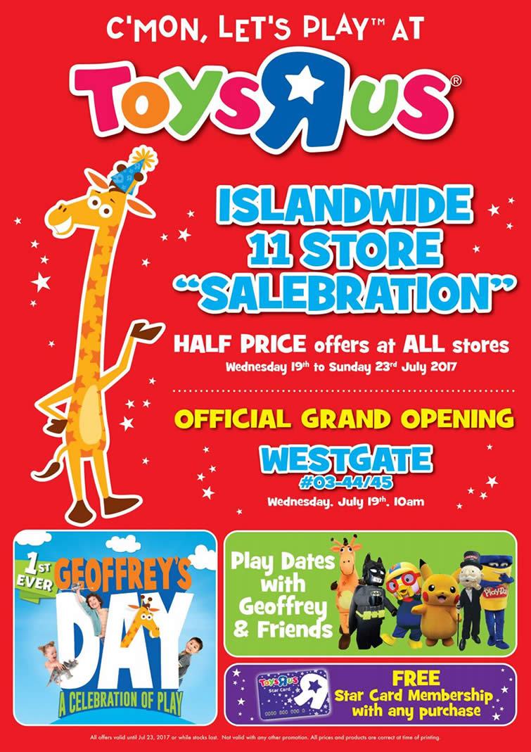 """Credit Card 2019 >> Toys """"R"""" Us: More islandwide half-price specials on over 30 items! From 19 – 23 Jul 2017"""