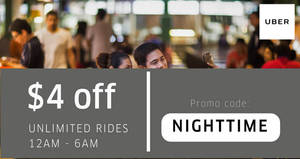 Featured image for Uber: $4 off unlimited rides from 12am – 6am for the entire month of August 2017!
