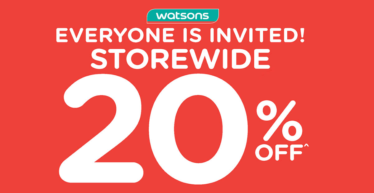 Featured image for Watsons: Enjoy storewide 20% off with min $38 spend (no membership required) till 25 Apr 2021