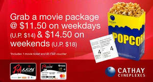 Cathay Cineplexes: $2.50 – $3.50 off movie packages with PAssion cards! Till 30 Apr 2019