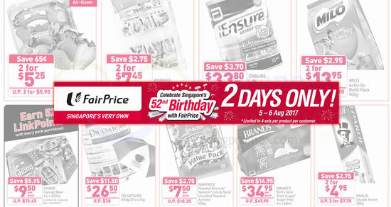 Fairprice twodays offers feat 5 Aug 2017
