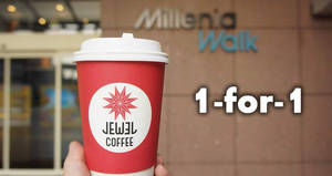 Featured image for Jewel Coffee @ Millenia Walk: 1-for-1 coffee all-day from 28 Aug – 2 Sep 2017