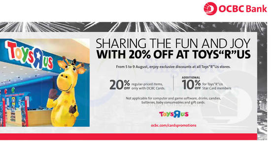 """Featured image for Toys """"R"""" Us: 20% off reg-priced items storewide for OCBC cardholders! From 5 - 9 Aug 2017"""