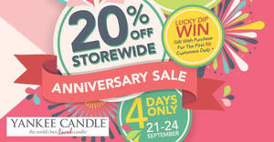 Featured image for Yankee Candle: 20% OFF storewide anniversary sale from 21 – 24 Sep 2017