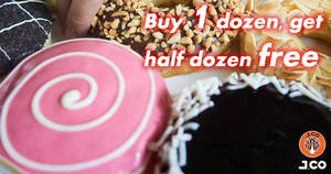 Featured image for J.CO Donuts & Coffee: Buy a dozen donuts and get half dozen free from 7 – 9 Aug 2018