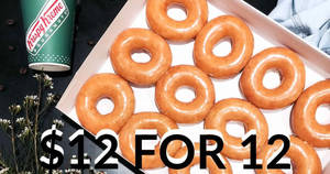 Krispy Kreme: 12 doughnuts for $12 (U.P. $31.20) one-day promo at Changi Airport T2 on 25 May 2018