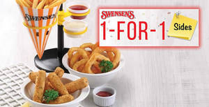 Swensen's: 1-FOR-1 sides – Mozzarella Cheese Sticks, Calamari Rings & more – at ALL outlets! From 22 – 26 Jan 2018