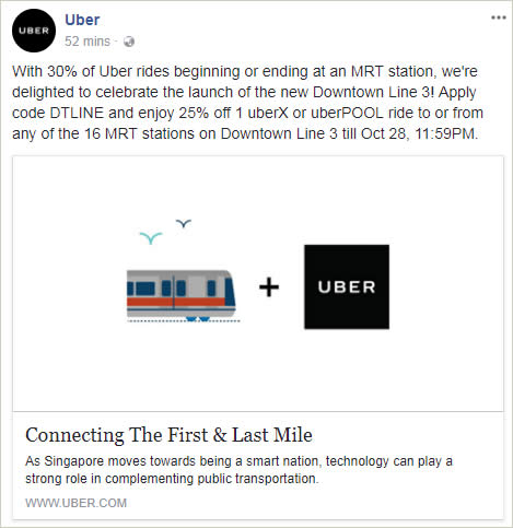 Uber: Save 25% OFF an Uber ride to/from Downtown Line MRT