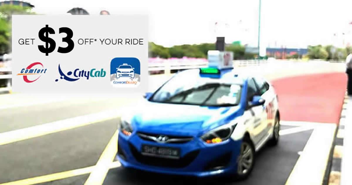 ComfortDelGro: $3 OFF taxi fares promo code valid till 30 Apr 2018