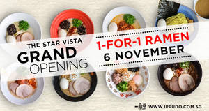 Featured image for IPPUDO to offer 1-FOR-1 ramen ALL-day at Star Vista on 6 Nov 2017