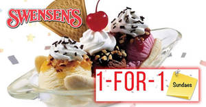 Swensen's: 1-for-1 Sundaes at ALL outlets! Valid from 19 – 23 Mar 2018