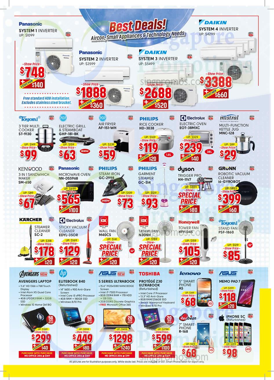 Air Conditioner, Small Appliances, Notebook, ASUS, Toshiba, Lenovo, Panasonic, Daikin