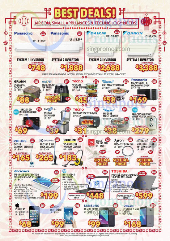 Air Conditioner, Small Appliances, Notebooks