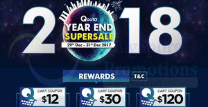 Featured image for Qoo10: Year End SuperSale featuring $12, $30 & $120 cart coupons! Valid from 29 – 31 Dec 2017