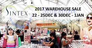 Featured image for Sintex: Bedlinen factory sale! Happening on selected days from 22 Dec 2017 – 1 Jan 2018