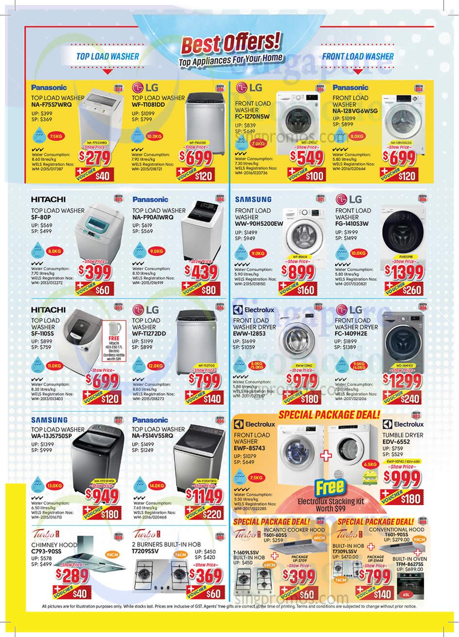 Washers, Panasonic, LG, Samsung, Hitachi, Electrolux