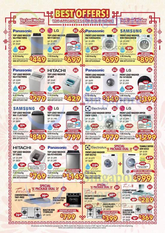 Washers, Samsung, Panasonic, LG, Hitachi, Electrolux