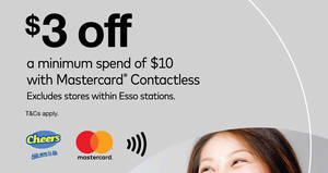 Cheers: $3 OFF min spend of $10 when you Tap & Go with Mastercard Contactless! Ends 17 Mar 2018