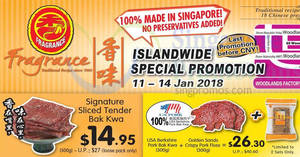 Featured image for Fragrance Bak Kwa: Almost 50% OFF signature sliced tender bak kwa at ALL outlets! From 11 – 14 Jan 2018