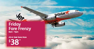 Jetstar: Over 15 destinations on sale fr $38 all-in! Book from now till 19 Jan 2018, 11pm
