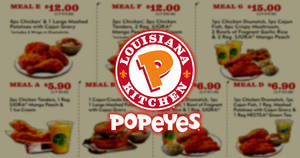 Popeyes: NEW coupon deals valid at all outlets! From 16 – 29 Jan 2018
