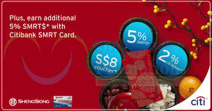 Sheng Siong: Free $8 voucher when you spend min $80 with Citi credit cards! Valid till 24 Feb 2018