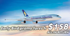 Singapore Airlines: Early bird promo fares fr $158 all-in return to over 55 destinations! Book by 31 Mar 2018