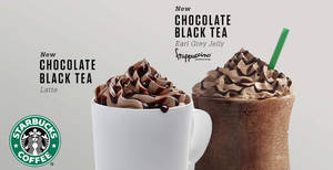 Starbucks Chocolate Black Tea with Earl Grey Jelly Frappuccino returns with new Chocolate Black Tea Latte! From 22 Jan 2018