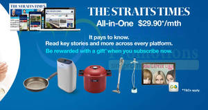 The Straits Times: Free gifts for new subscribers when you subscribe online from 16 Jan – 20 Feb 2018