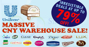 Unilever: Up to 79% off warehouse sale – Dove, Persil, Cif, Lifebuoy & more! From 20 – 21 Jan 2018