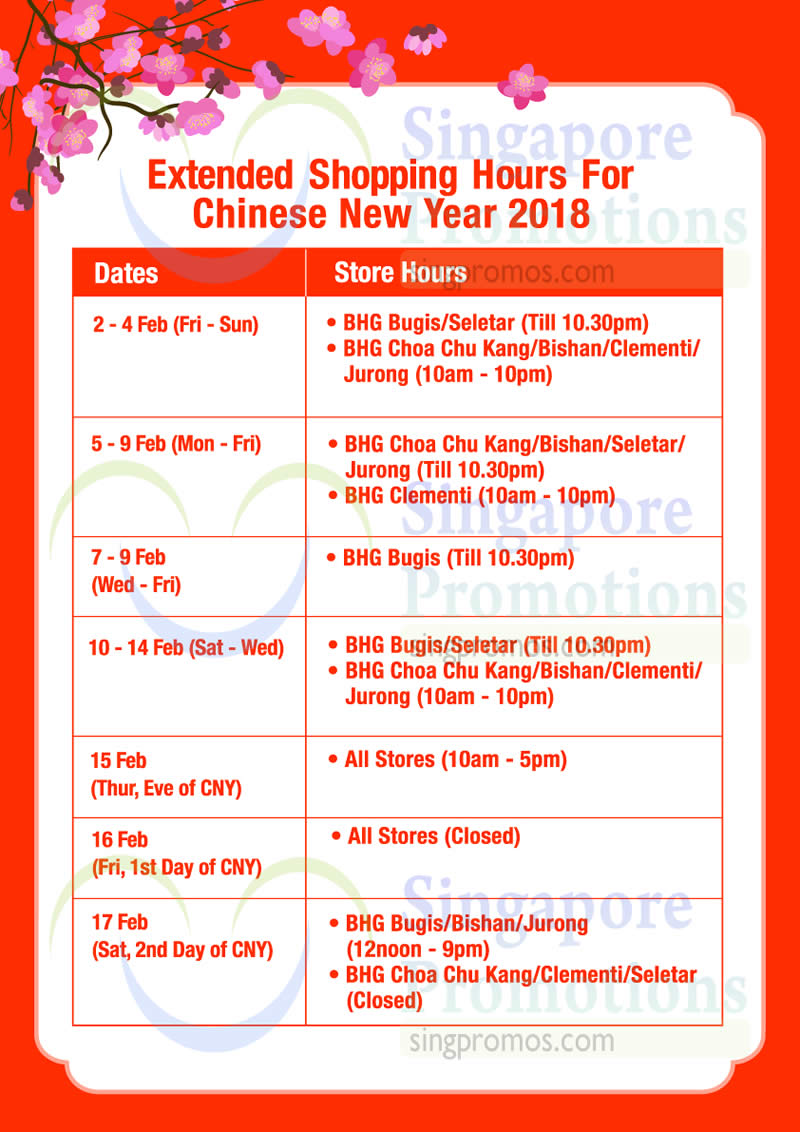 Bhg chinese new year extended opening operating hours for Bhg shopping