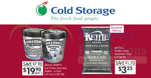 Cold Storage: Ben & Jerry's at 2-for-$19.90, Kettle Brand potato chips at $3.25 (U.P. $4.95) & more! From 22 – 25 Feb 2018