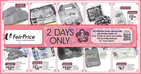 Fairprice 2days offers feat 14 Feb 2018