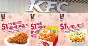 KFC: $1 Cheese Fries, $1 Honey Sesame Chicken & more e-coupons – flash to redeem! Valid till 28 Feb 2018