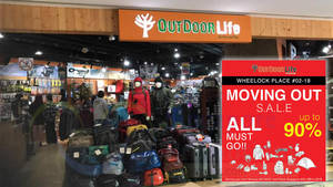 Outdoor Life up to 90% OFF moving out sale at Wheelock Place! From 18 Feb 2018