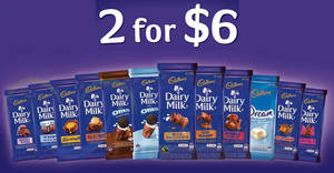 Cadbury Dairy Milk chocolate bars are going at 2-for-$6 (40% off!) at Fairprice, Giant & more! Ends 28 Mar 2018